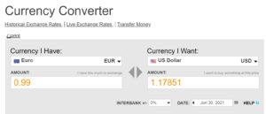 Screenshot OANDA currency converter