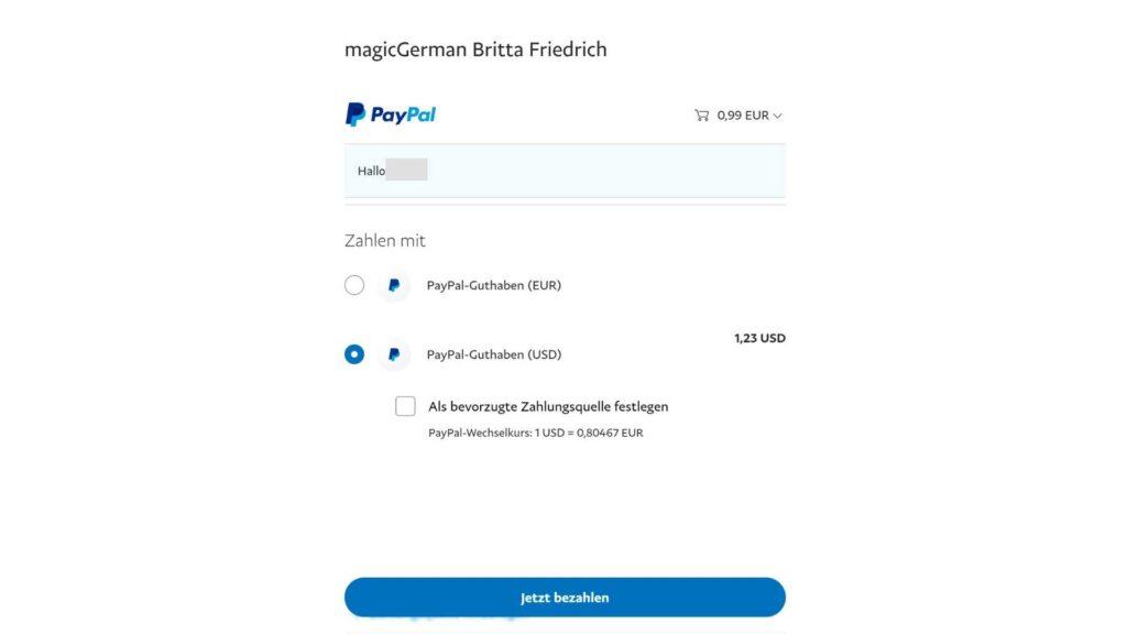 Screenshot PayPal confirmation page